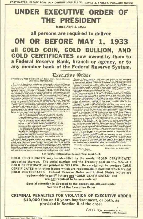 Указ № 6102 Франклина Рузвельта от 05 апреля 1933 года о сдаче золота